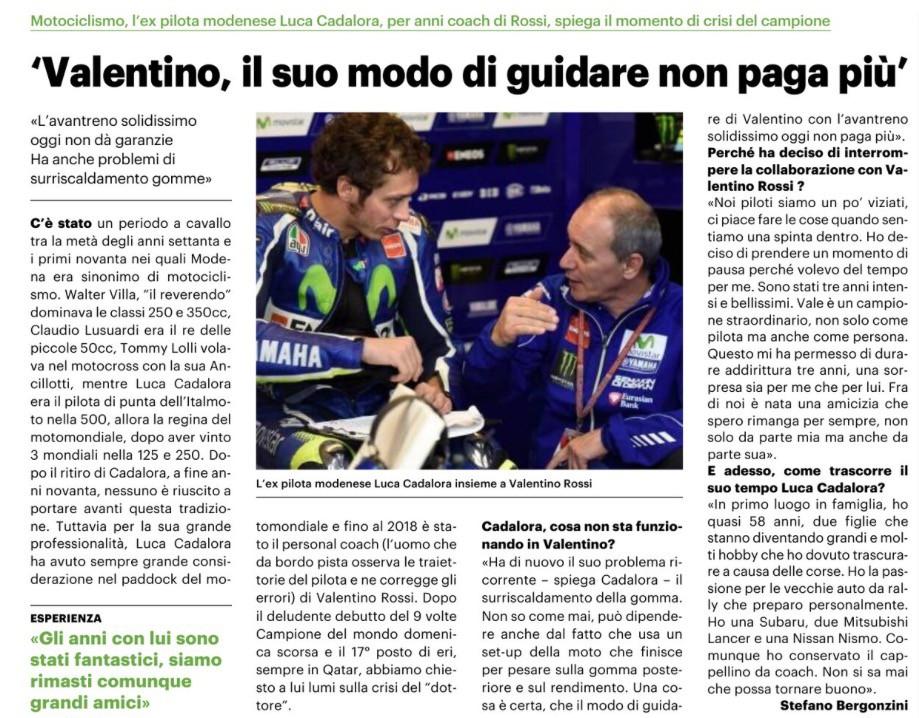 Cosa sta succedendo a Valentino Rossi? Stefano Bergonzini intervista Luca Cadalora per Il Resto del Carlino